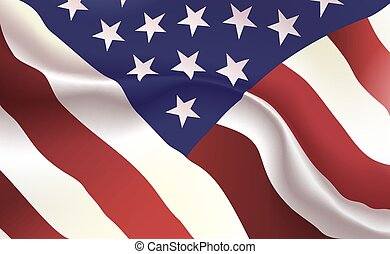 Background American Flag in folds. Star-Spangled banner. Pennant with Stars stripes concept up close, standard USA. United States America illustration. Realistic soft shadows, highlights. Vector.