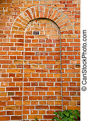 Background ancient red brick wall arch imitation