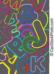 Scrapbooking background has alphabet letters A to Z in black and white checked pattern with colorful outlines.