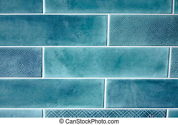 Background and texture blue rectangular tiles