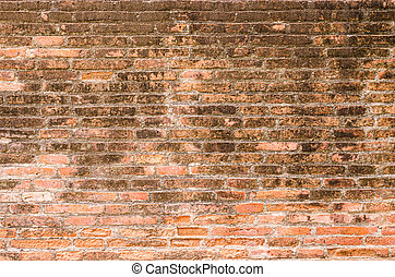 texture of old red brick wall  in horizontal view