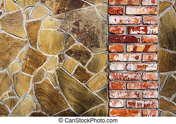 Background and texture red, white, yellow, orange and brown color decorative stone wall with masonry.