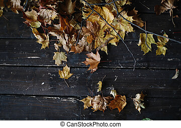 Background background with old wooden table and yellow autumnal leaves