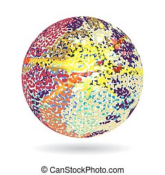 Background ball engraved dots and spots at the moment of explosion