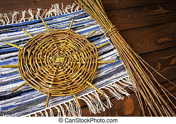 basket with willow willow on a tablecloth