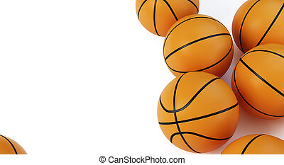 Background basketball ballls on a white background 3D illustration, 3D rendering