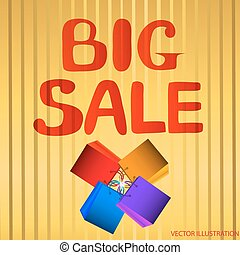 Background big sale. Bright vector illustration in red and yellow colors. Illustration with shopping bags.
