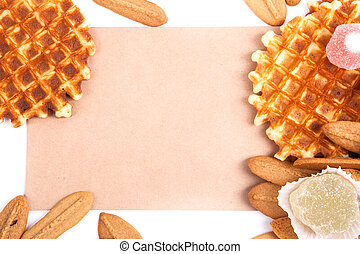 background biscuits, waffles, fruit jelly isolated on white background with space for text on the envelope