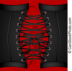 background black corset - on a red background are a big lace...