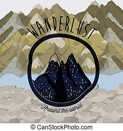 background blur mountains scenary with wanderlust logo rocky...