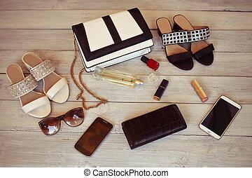 background:, bois, parfum, chaussures, vernis, bourse, accessoires, femme, blanc, smartphone, sac, rouge lèvres
