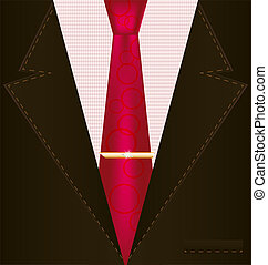 background fantasy: brown male costume with red tie