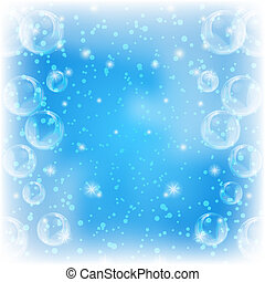 Background, bubbles on blue