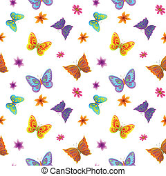 Background, butterflies and flowers