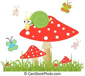 background butterfly with amanita - Vector background with...