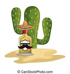 background Cactus with bottle of tequila