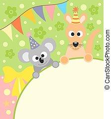 Background card  with koala and kangaroo
