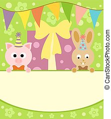 Background card  with pig and rabbit