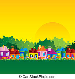 Background with a caricature of a village home in the spring, autumn and summer in the countryside