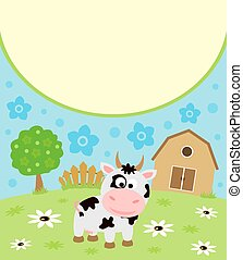 Background cartoon card with cow