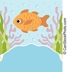 Background cartoon card with fish