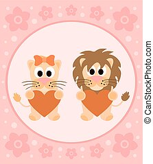 Background cartoon card with lions