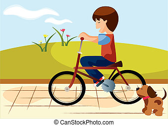 background child bike - the ilustracion is about a child in...