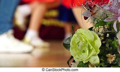 Background - children's tournament on ballroom dances - feet...