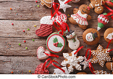 background Christmas gingerbread closeup. Horizontal top view