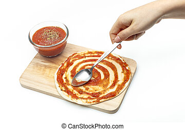 background], coller, pâte, blanc, [isolated, sauce, pizza