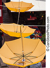 Background colorful umbrella street decoration