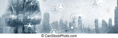 Background conceptual image with social connection lines on panoramic fone