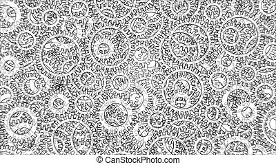 Background consisting of gears. Blueprint Style