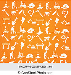 background construction icons - construction icons over...