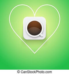 Background cup of coffee and heart.