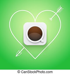 Background cup of coffee and heart with arrow.