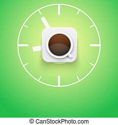 Background cup of coffee and time. Vector Illustration.