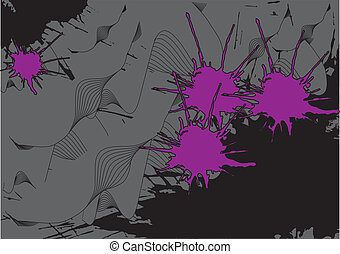 background curves and pink blots