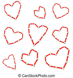 Background decorated with various red hearts made of the construction set
