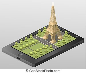 background, design, france, paris, isometric, travel,
