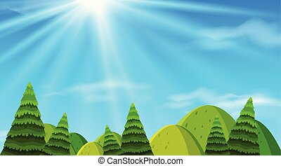 Background design of landscape with green hills illustration