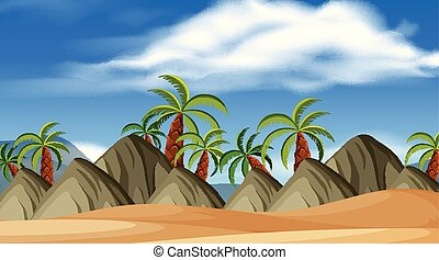 Background design of landscape with hills on the beach