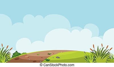 Background design of landscape with road on the hill