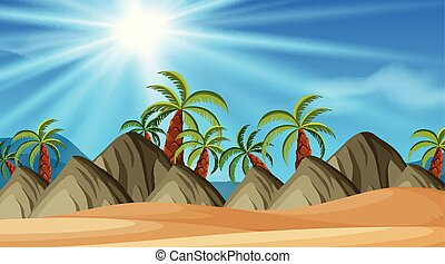 Background design of landscape with trees and hills on beach