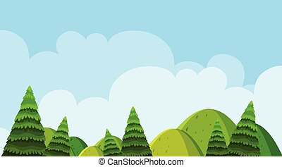 Background design of landscape with trees on the hills