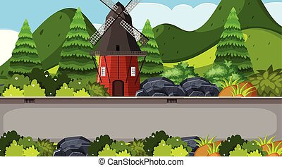 Background design of landscape with windmill on the road