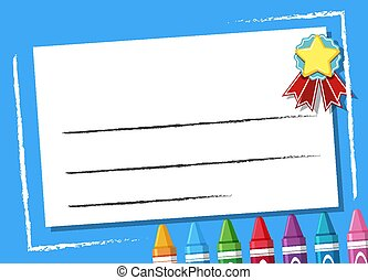 Background design template with crayons on blue frame