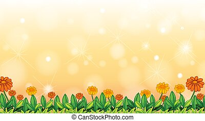 Background design template with flowers in the field