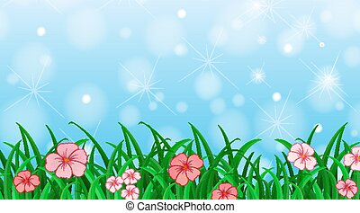 Background design template with flowers in the garden