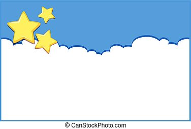 Background design template with stars on blue sky